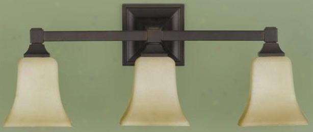 American Foursquare Vanity Fixture - Three Light, Oil Rub Bronze