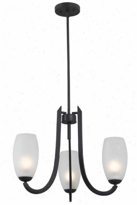 Arianne Pendant - 3-lt Chandelier, Forged Graphite