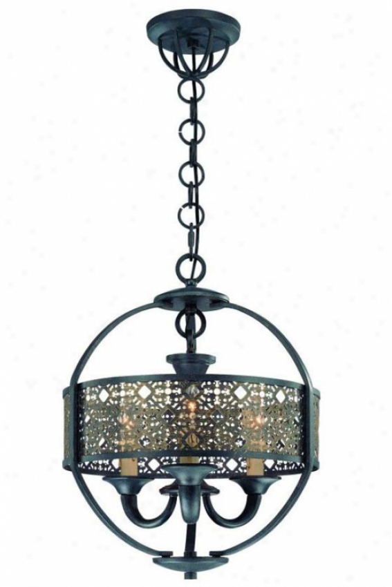 Armory Chandelier - Three Light, Ancien tBronze
