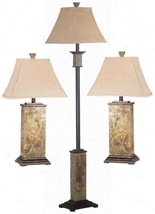 Bennington 3-pack Lamp Se t- Fabric Shade, Slate Gray