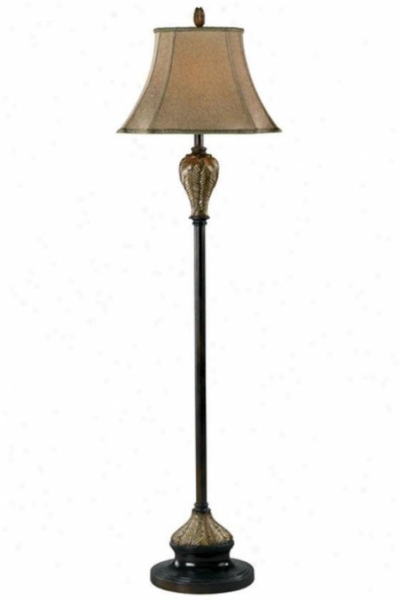 Bermuda Flior Lamp - Gold Prnt Fabrc, Brown