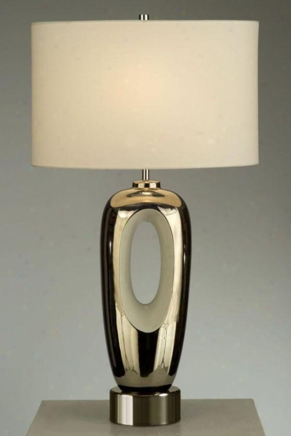 """braque Table Lamp - 28""""hx16""""wx10""""d, Silver Chrome"""