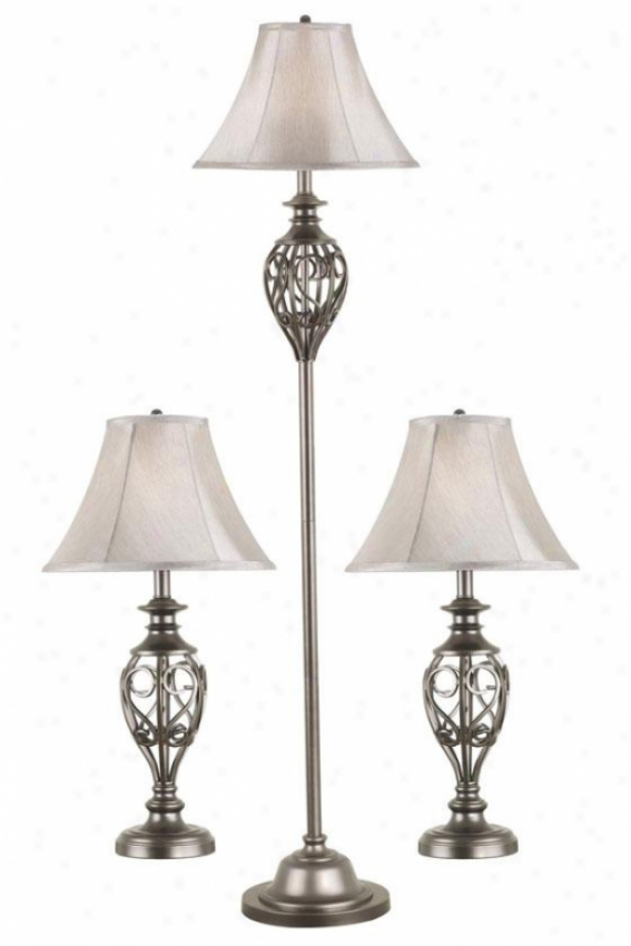 Charisse Lamps - Set Of 3 - Set/3 ,Silver