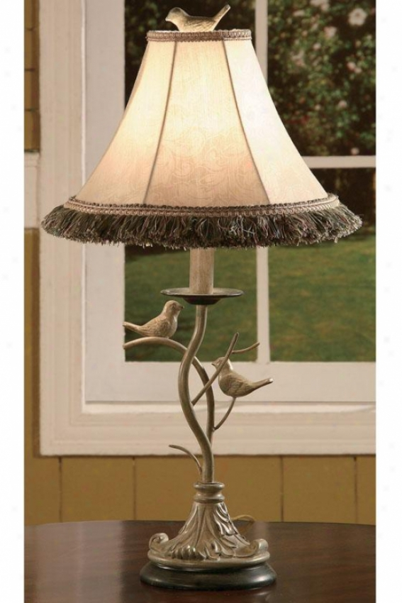 """country Bird Accent Lamp - 25""""h, White Washed"""
