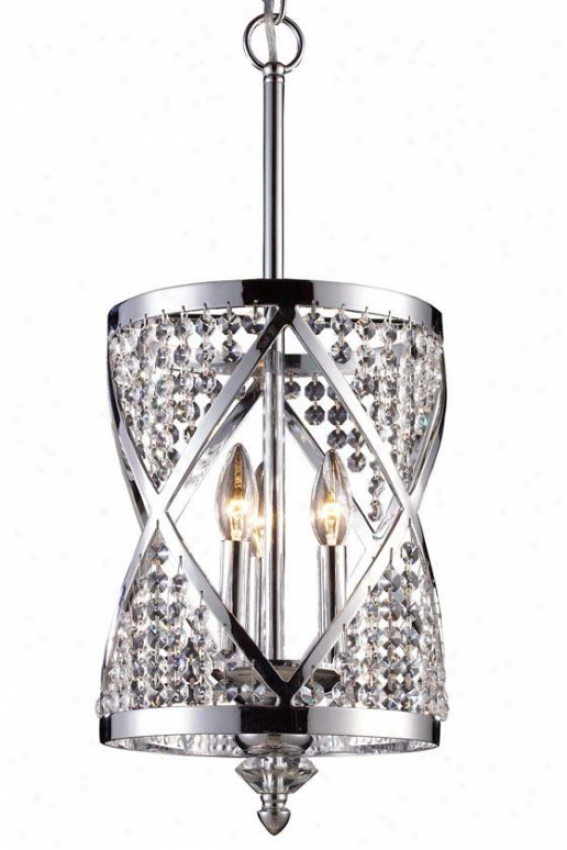 """di Cristallo 23""""h Chandelier - 3-light, Steel Gray Chrome"""