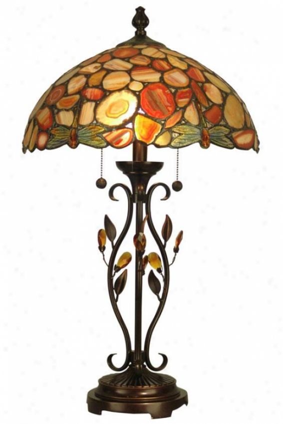"""dragonfly Agate 2-light Table Lamp - 27h X 16.25""""d, Antq Goldn Sand"""