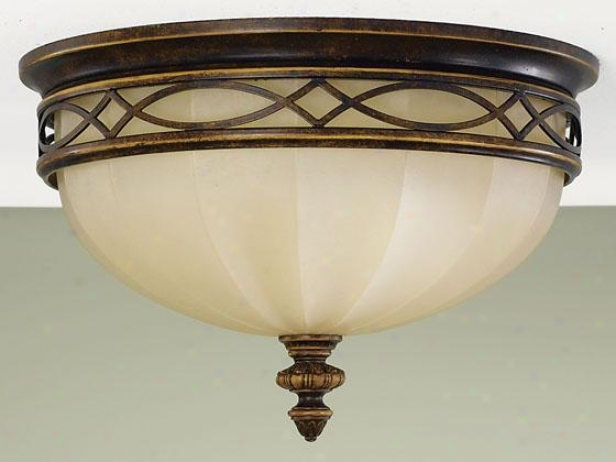 """drawing Room Flush Mount - 9""""h X 14""""w, Brown Wood"""