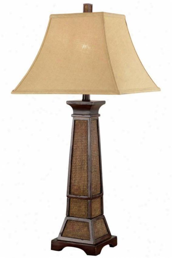 """ellis Table Lamp - 32""""hx15""""d, Wthrd Teak Rttn"""