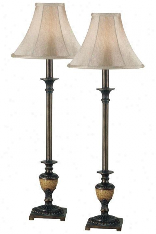 Emily Buffet Lamp - Set Of 2 - Lt Gld Bell Shd, Bronze
