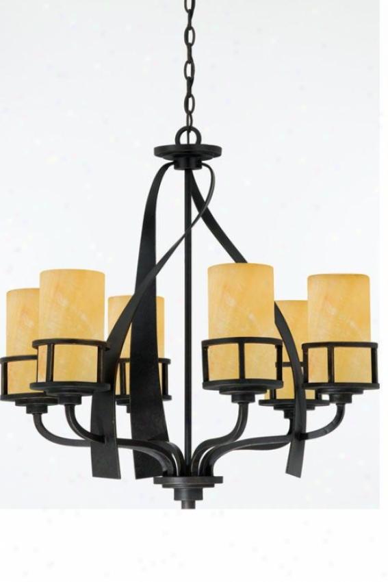Evan 6-light Chandelier - 6-lght, Gold Bronze