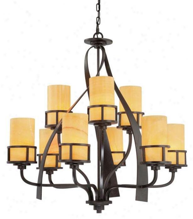 Evan 9-light Chandelier - 9-light, Gold Brass