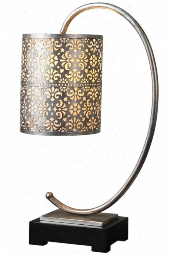 """faleria Taboe Lamp - 24""""hx8.25""""diamt, Antiqueed Silver"""