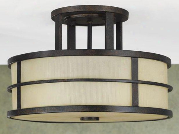 Fusion Semi-flush Mount - Three Light, Grecian Bronze
