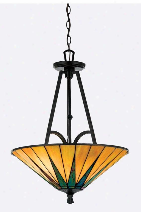Gotham Tiffany-style Pendant - 3-light/bowl, Brown Bronze