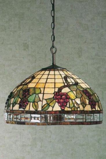 Grape Vineyards Ceiling Fixture - Five-light, Green Iron