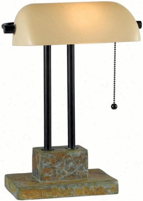 """""""greenville Banker Lamp - 17""""""""h, Slate Gray"""""""
