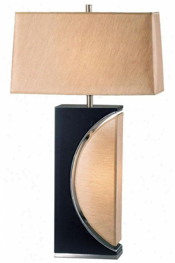 """half Moon Table Lamp - 30""""h, Brown"""