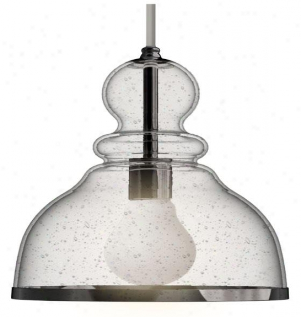 Home Decorators Collection Seeeded Glass Dome Mini Pendant - Small 1 Light, Silver Nickel