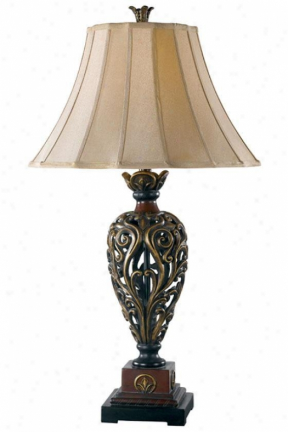 Iron Lace Table Lamp - Light Gold, Golden Ruby