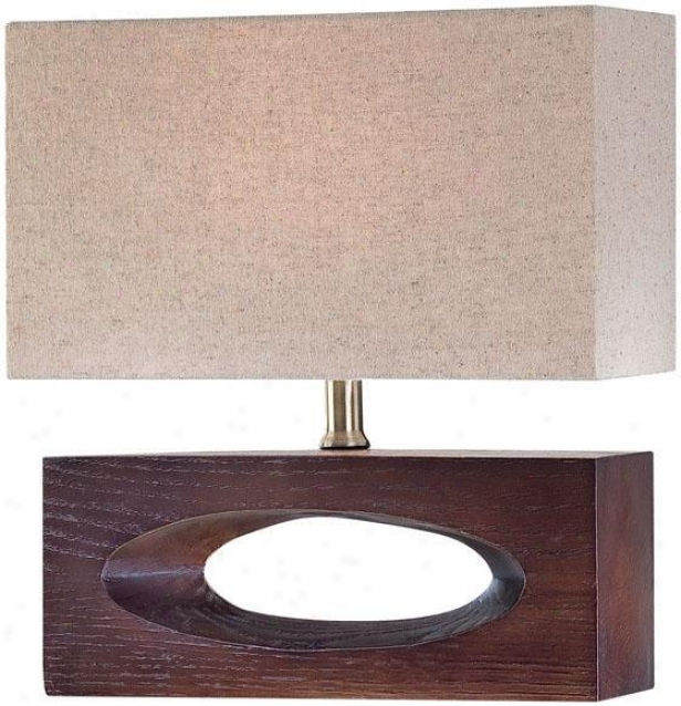 """julio Table Lamp - 16""""hx12""""d, Brown Wood"""