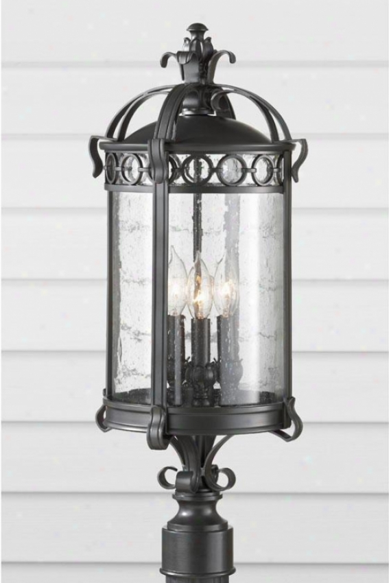 Kinfscote Outdoor Lamp Post - Three Light, Black Sable