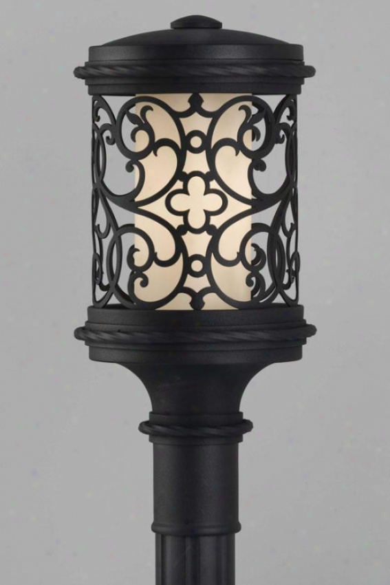 """la Vienna Outdoor Lamp Post - 18.75""""h Fluor, Black"""