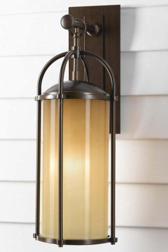 """laur3n Outdoor Wall Lantern - 20.75""""h X 7.75"""", Heritage Bronze"""