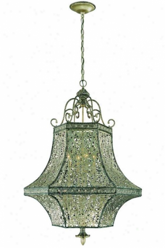 Leticia Pendant - Eight Light, Rustic Silver