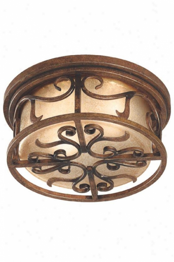 Milan Flush Mount - 2-light, Aged Gldn Cppr