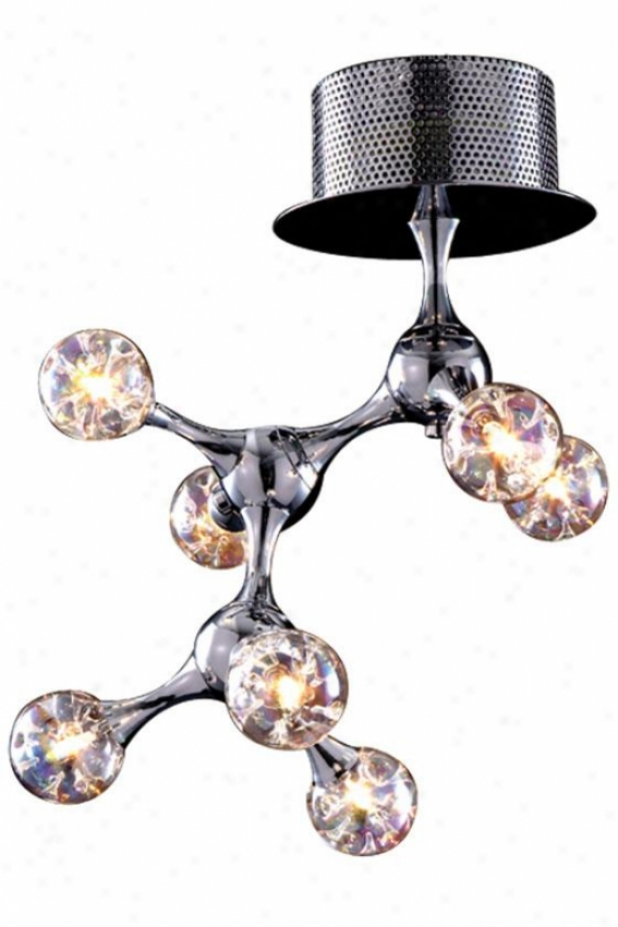 Molecular Semi-flush Mount - 7-light, Steel Gray-haired Chrome