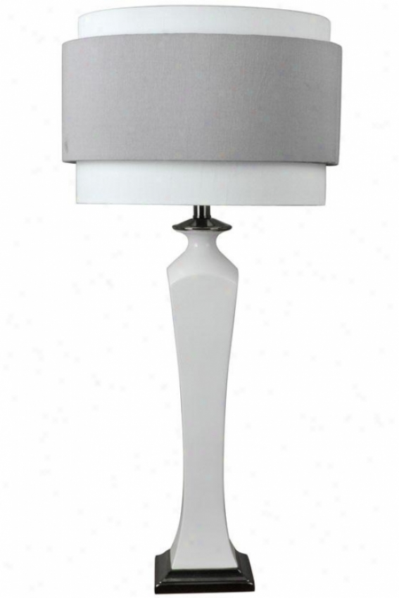 """natalie Ceramic Table Lamp In Gloss White With Black Nickel Accents - 34""""h, Gloss White"""