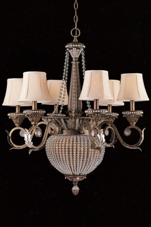 """one-tier Paris Fle Chandelier - 31.5""""hx28""""w, Brown Metal"""