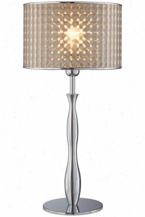 """optical Table Lamp - 12""""x25"""", Silver Chrome"""