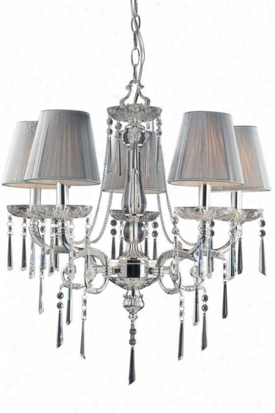 """palace 23""""w Chandelier - 5-light, Polished Silver"""