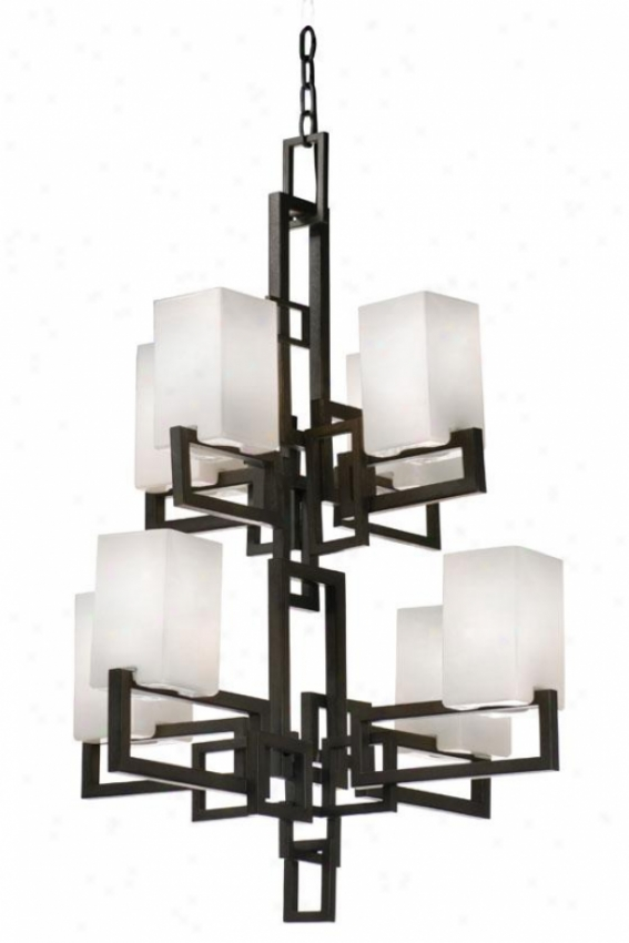 Palm Springs 8-light Chandelier - Eight Buoyant, Frgd Irn Crewmy