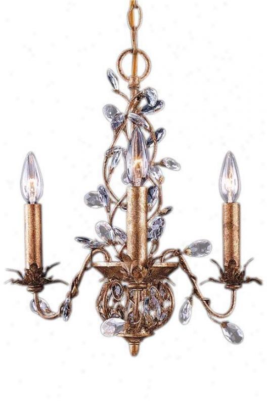 """paris Flea Crystal Mini Chandelier With Gold Leaf - 17""""hx16""""w, Gold"""