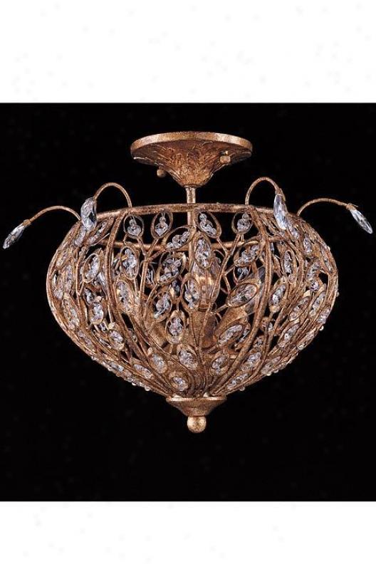 """""""paris Flea Crystal Semi-flush With Gold Leaf - 14""""""""hx17.5""""""""w, Gold"""""""