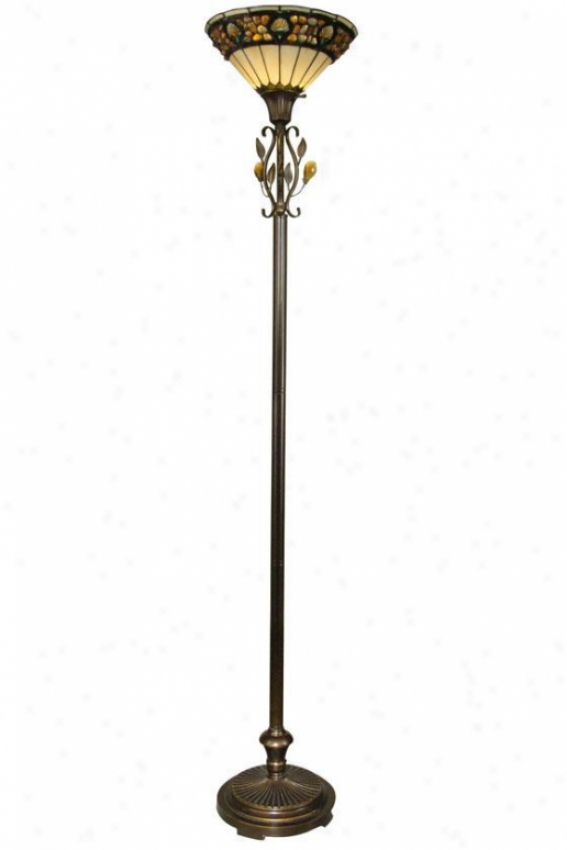 Pebblestone Bridge Floor Lamp - Torchiere, Antq Gldn Sand