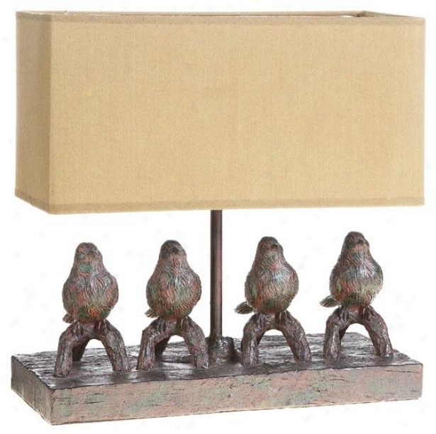"""perched Birds Lamp - 12""""hx12""""wx5""""d, Brown"""