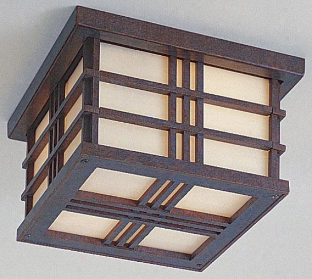 """""""porter Outdoor Ceiling Fixture - 5.25""""""""h X 8.5""""""""w, Pass to windward of Patina"""""""