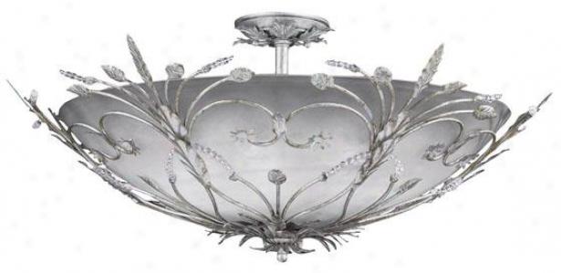 Primrose Semi-flush Bowl Mount - 6-light, Silver Leaf