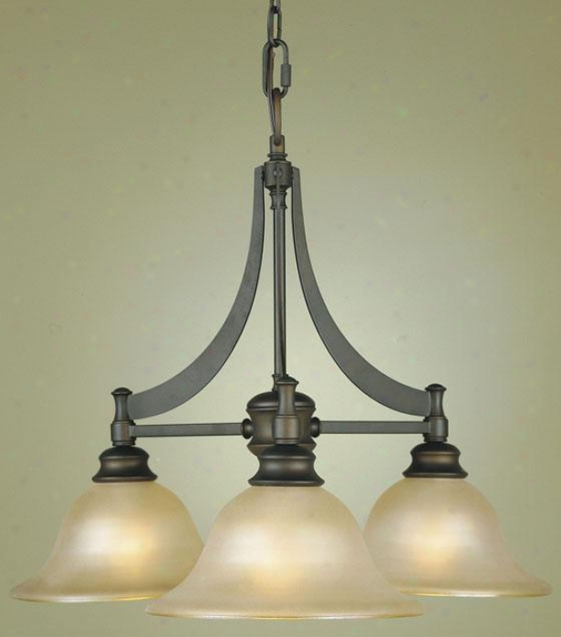 Pub Chandelier - Three Light, Oil Rub Brown