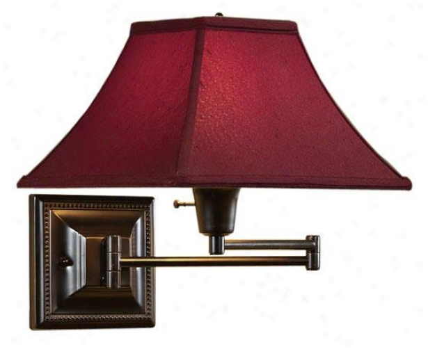 Red Kingston Swing-arm Pin-up Lamp - Red, Copper Bronze