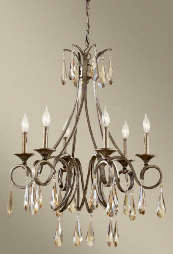 Roselle Chandelier - Six Light, Gld Imper Silvr