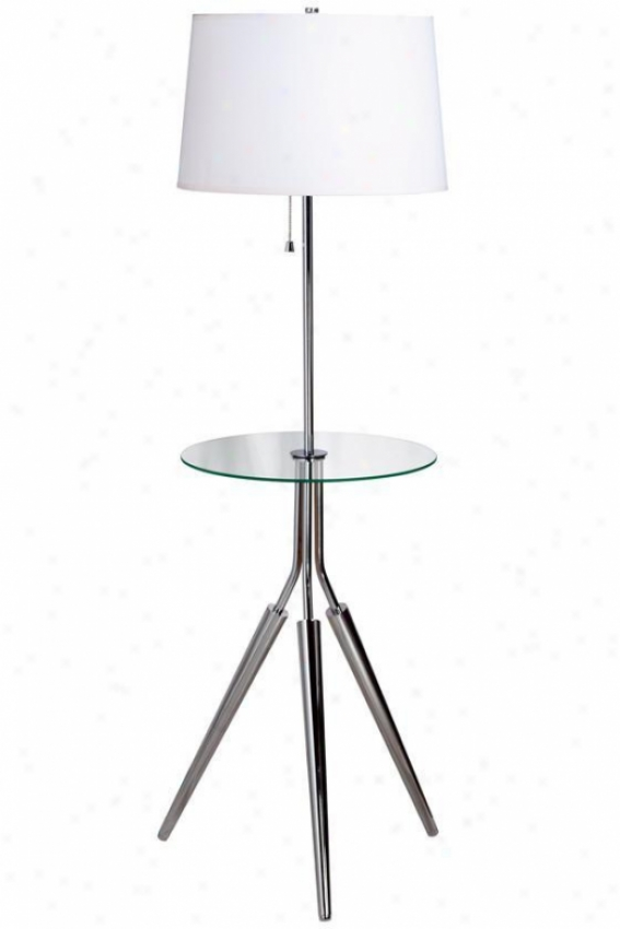 """rosie Floor Lamp With Glass Tray - 58""""h, Silver Chrome"""