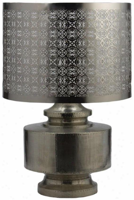 Royal Geman Lamp - 20.5hx13.75d, Mango Wood Silv