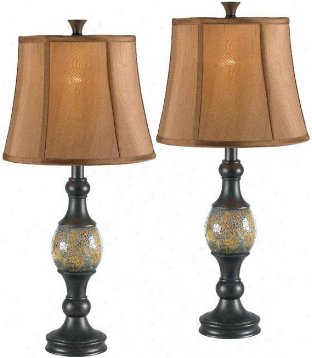 """shay Table Lamp - Set Of 2 - 29""""h, Bronzr"""