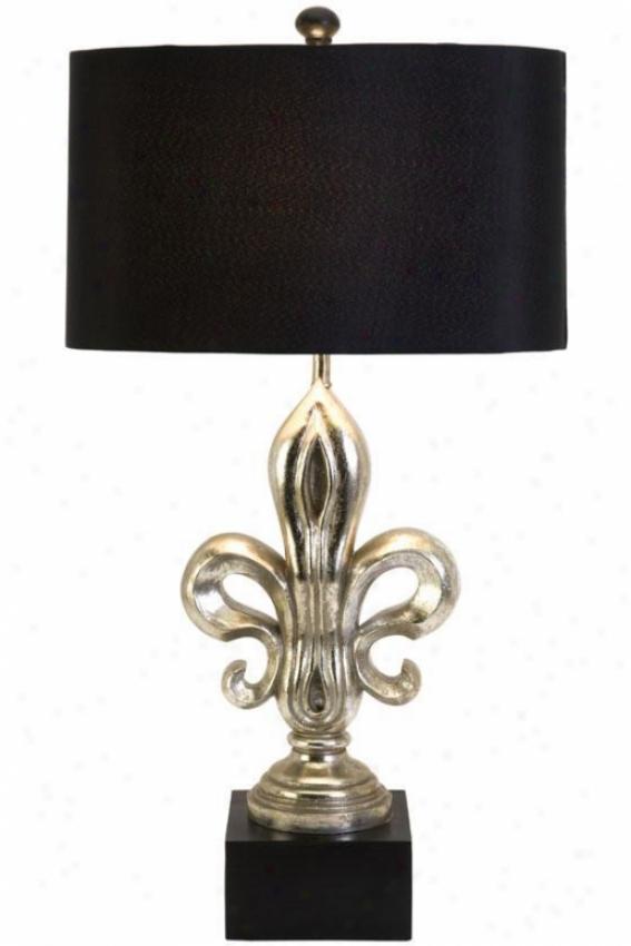 """""""silver Fleur De Lis Lamp - 32.5""""""""hx11""""""""w, Black"""""""
