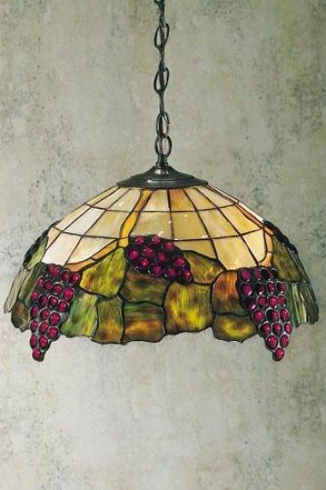 """""""small Tiffany-style Grape Vineyards Pendant - 13""""""""hx12""""""""d, Green Iron"""""""
