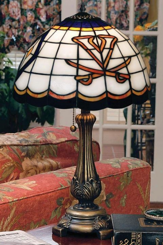 """""""sports Team Stained Cunning Glass Window Panel Table Lamp - 19.5""""""""hx12""""""""d Shd, Orajge"""""""